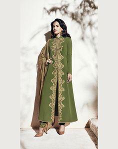 Green Georgette Pakistani Style Suit 70778
