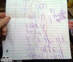 """ok this has to be the funniest """"running away"""" note I've ever seen"""