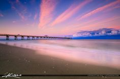 Beautiful smooth ocean colors during sunset at the Juno Beach Pier in Juno Beach Florida. HDR image created using Aurora HDR and Photomatix software. Juno Beach Florida, Juno Beach Pier, Ocean Colors, Delray Beach, Pink Clouds, Island Beach, Beautiful Sunset, Sunrise, Earth