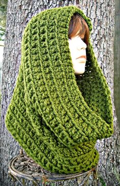 Hand Crocheted Cowl Scarf Oversized Cowl Scarf in by pixiebell   18 x 38