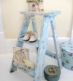 Little Shabby Antique Step Ladder with Chippy Paint. $42.00, via Etsy.