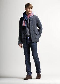 Love Moschino Uomo Fall/Winter 2012-2013 - cardigan shirt, trousers, belt, scarf