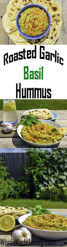 Roasted Garlic & Basil Hummus | Whole Made Living.  This is an extra savory and delicious hummus you'll love with fresh pita bread, as a sandwich spread or veggie dip. The addition of garlic and basil to this classic spread just makes it that much more spectacular. Enjoy!