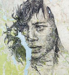 Mapped Face // Ed Fairburn on Graphic Mixed Media. Ed Fairburn has recently produced new works that live in a magical place between sculpture and drawings. Ed Fairburn, Art Et Design, Paper Design, Art Du Monde, Art Carte, A Level Art, Gcse Art, Vintage Maps, Art Inspo