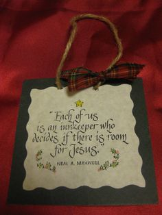 """This is an easy religious Christmas ornament craft you can make.    You can use this as an ornament, a door hanger, or a package topper.  You can make it any size, but the one above is 4""x4""  Materials:  Mat board (the kind you frame pictures with ) in your color choice  Quote printed out from your computer  Glue  Jute/twine/ribbon"