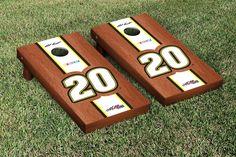 Our NASCAR MATT KENSETH #20 CORNHOLE GAME SET ROSEWOOD STAINED STRIPE VERSION. Get your custom set at victorytailgate.com