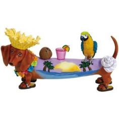 hot diggity dog figurines | Hot Diggity Dachshund Beach Bum Dog w/ Parrot and Cocktail Figurine ...