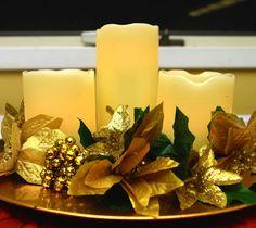 Prayer Room Altar Decoration #PrayerRoom Candles and Golden Poinsettias #Poinsettias United Faith Church Barnegat New Jersey www.unitedfaithchurch.org