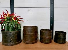 Unique Vintage Indian Iron Grain Measuring Pots, Plant or Pen Holders Pots Small One, Unusual Gifts, Pen Holders, Unique Vintage, Tat, Im Not Perfect, Grains, Iron, Indian