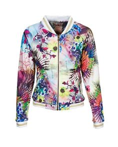 Indian Blue Jeans - S/S 2016 : Sweat, Bomber /Flower Print - Sportive girls, here's your favorite jacket! See this super cool and colorful sweat bomber. Cause even the sportive girls can wear real fashion items! Blue Jeans, Indian Blue, Spring Summer 2016, T Shirts, Kids Boys, Bunt, Motorcycle Jacket, Bikini, Leggings