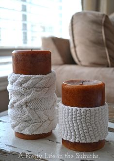 My Fall Mantels & Home Decor. Candle cozies. She made them from old sweaters but they would be easy enough to knit from leftover yarn.