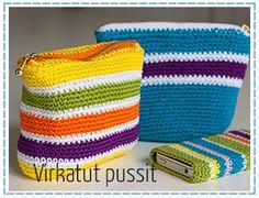 virkatut_pussit_linkkil Hand Art Kids, Art For Kids, Crochet Pouch, Crochet Hats, Kids Bags, Projects To Try, Coin Purse, Crochet Patterns, Purses