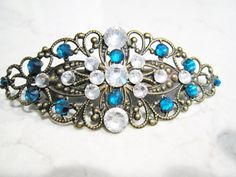 Bronze filigree  hair clip barrette with blue by LindasAccessories