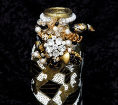 OOAK Milk Bottle Gold Black White Vase Bead Accented by CAKKYSTUFF, $125.00