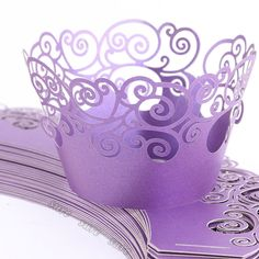 Purple Vine Filigree Cupcake Wrappers Wrap Cases Wedding Birthday Party 24 wrappers / 7.99 on eBay. Free shipping. Quick delivery
