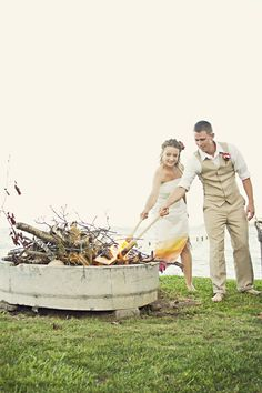 An offbeat backyard wedding with a bonfire! Instead of a unity candle? I think so Jennay!!