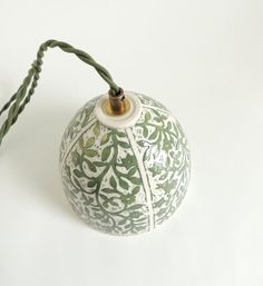 Porcelain Hanging Lamp in Green and White by SueCanizaresCeramics