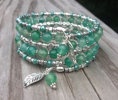 Emerald Clover Faceted Agate Gemstone and Crystal Memory Wire Wrap Bracelet