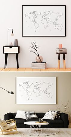 A super minimalist illustration of a world map shows your appreciation for travel without sacrificing your love of simplicity.