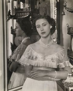 Princess Margaret in the Principal Corridor of Buckingham Palace