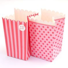 8 Pink Popcorn or Treat Containers