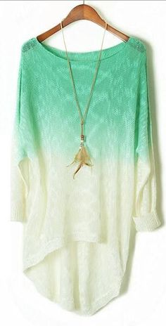 Gradually Changing Color Long Sleeves Scoop Bat-wing Long Blouse