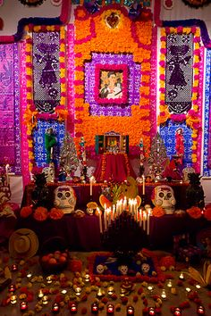 Dia de Muertos ofrenda. Happy Day of the Dead!  We remember all those we have loved and lost today. They will stay with us in our hearts always.