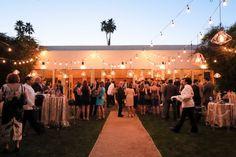 Geometric lighting strung on The Parker Palm Springs Ballroom Lawn