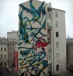 """Problems on paradise"" - New mural by #Pantónio in Moscow, Russia - Nov 2014 #StreetArt"