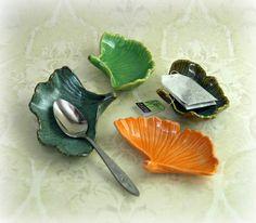 Ginkgo Leaf Spoon Rest/Tea Bag Holder by MudsEvolutionPottery