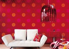 Wallpaper For The Home ~ http://modtopiastudio.com/red-wallpaper-designs-ideas-make-your-house-look-hot-and-brighter/
