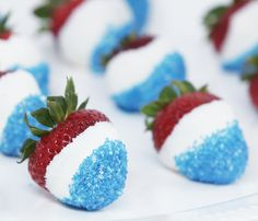 Chocolate dipped strawberries with blue sparkle sprinkles! :)