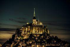 Mont Saint-Michel at night by dawvon, via Flickr