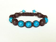 Blue Turquoise Black Lava Mens Natural Stone Jewelry Handmade Adjustable Beaded Shamballa Bracelet Unique Gift for Him - pinned by pin4etsy.com