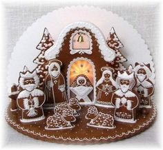 Betlém These are some of tye most amazing gingerbread displays of the Christmas… Gingerbread Village, Gingerbread Decorations, Christmas Gingerbread House, Christmas Nativity, Gingerbread Man, Gingerbread Cookies, Christmas Decorations, Holiday Treats, Christmas Treats