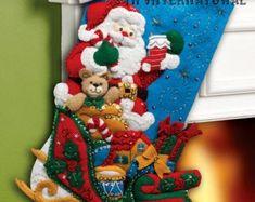 Bucilla Santa & His Sleigh Christmas Eve Toys Holiday Felt Stocking Kit 86359 Felt Stocking Kit, Christmas Stocking Kits, Felt Christmas Stockings, Cute Stockings, Xmas, Stocking Pattern, Felt Applique, Christmas Traditions, Craft Kits