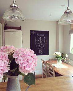 Hydrangeas chalkboard wall kitchen interiors pendant lights Roses and Rolltops