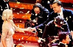 """Right after winning the Oscar, when everyone was going home, they let these little gold Oscary shapes flutter down from the ceiling. Leonardo DiCaprio came over, bowed down, and kissed my hand. It was the most fabulous moment — such a lovely gesture. He didn't say anything.""""    ~ Helen Mirren"""