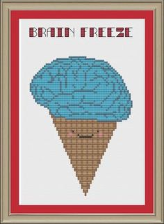 Brain freeze funny ice cream crossstitch by nerdylittlestitcher