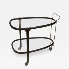 Excellent Italian Bent Wood Bar Cart with Brass and Glass by