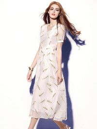 Embroidery Voile Midi Dress