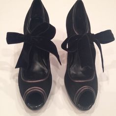"Talbots black suede peep toe heels Talbots black suede high heel with velvet bow. Peep toe and leather trimmed. Heel is 2.5"" Talbots Shoes Heels"