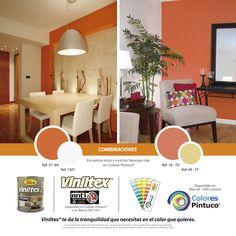 Combinaciones en colores naranja de Viniltex de Pintuco