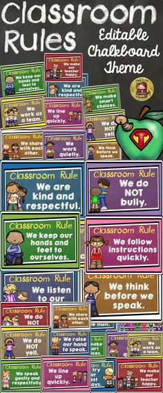 Setting classroom rules at the outset is a strategic way to begin the academic year and maintain classroom discipline. Almost all rules that your students and you brainstorm together will fall under the umbrella of these 20 editable rules and if they don't simply edit each rule to fit the purpose. https://www.teacherspayteachers.com/Product/BACK-TO-SCHOOL-CLASSROOM-RULES-CHALKBOARD-THEME-CLASS-DECOR-1904303 classroom rules| class decor| editable classroom decor