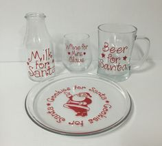 Cookie for Santa Plate with Milk jug, Beer Mug, wine glass. by MadePryor on Etsy