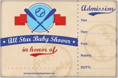 the printable baseball baby shower invitations. Get it all here for free: http://printmybabyshower.com/baseball-baby-shower-decorations-games-invitations/