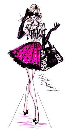 'Fashion's Night Out' illustration Hayden Williams Illustration Mode, Fashion Illustration Sketches, Fashion Design Sketches, Fashion Drawings, Hayden Williams, Arte Fashion, Style Fashion, Paper Fashion, Trendy Fashion