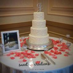 Pound cake with vanilla buttercream scrolls. #sweetcreationsbycandi