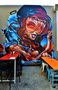 Graffiti Canvas Art, Graffiti Girl, Graffiti Murals, Murals Street Art, 3d Street Art, Street Art Graffiti, Mural Art, Street Artists, Sofles Graffiti