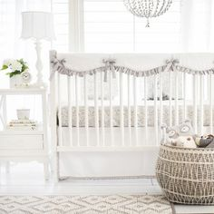 Our gray and white baby bedding is classic and fresh! Brighten up your nursery with our Bunny Love Crib Collection!